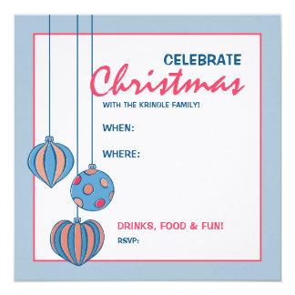 """Retro Christmas Balls blue Party Invitation 5.25"""" Square Invitation Card"""