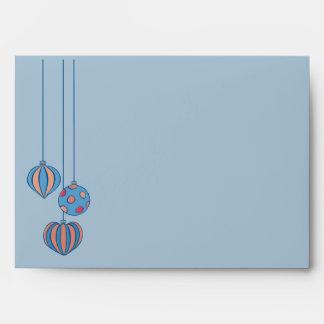 Retro Christmas Balls blue red A7 Envelope