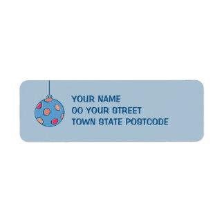 Retro Christmas Balls blue Return Address Labels