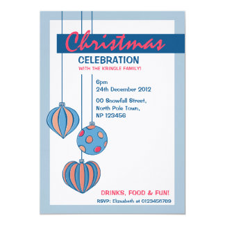 "Retro Christmas Balls blue white Dinner Invitation 5"" X 7"" Invitation Card"