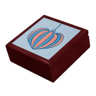 Retro Christmas Balls heart blue Gift Box