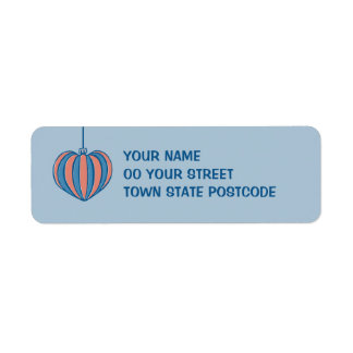 Retro Christmas Balls heart blue Return Address Custom Return Address Labels