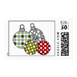 Retro Christmas Balls Postage<br><div class='desc'>Colorful and cute retro style holiday ornament balls in various polka dotted designs. These Christmas holiday postage stamps are sure to brighten your holiday greeting cards!</div>