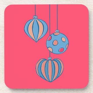 Retro Christmas Balls red Cork Coasters