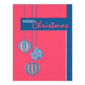 Retro Christmas Balls red flat Card