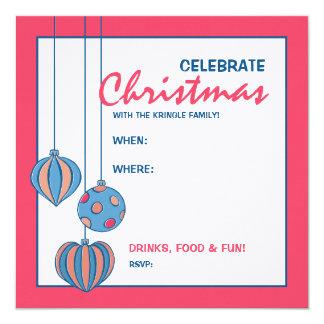Retro Christmas Balls red Party Invitation