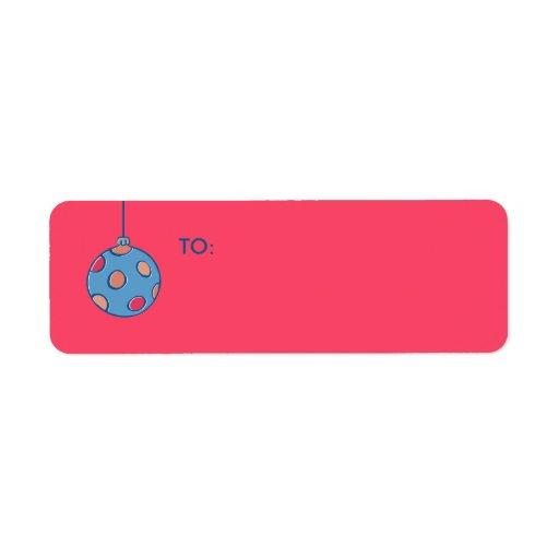 Retro Christmas Balls red Small Gift Tag Return Address Label