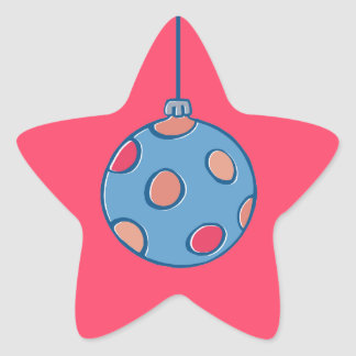 Retro Christmas Balls round red Star Sticker