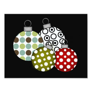 Retro Christmas Balls T-shirts and Gifts 4.25x5.5 Paper Invitation Card