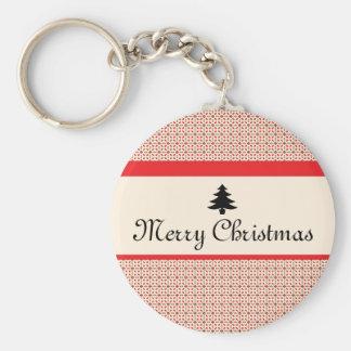 Retro Christmas Basic Round Button Keychain