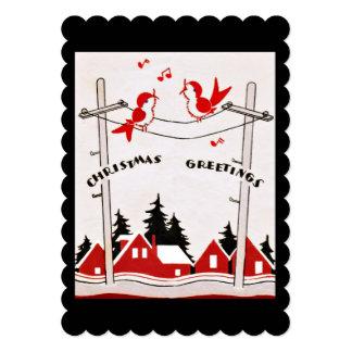 Retro Christmas Birds Holiday Greetings 5x7 Paper Invitation Card