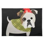 Retro Christmas Bulldog Cloth Place Mat