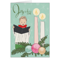 Retro Christmas Card -Joy to the World Choir Boy