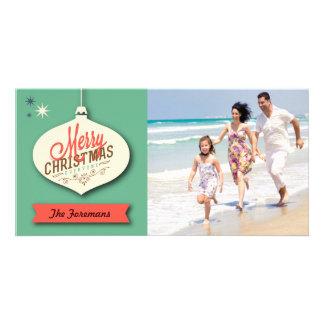 Retro Christmas Card Custom Photo Card