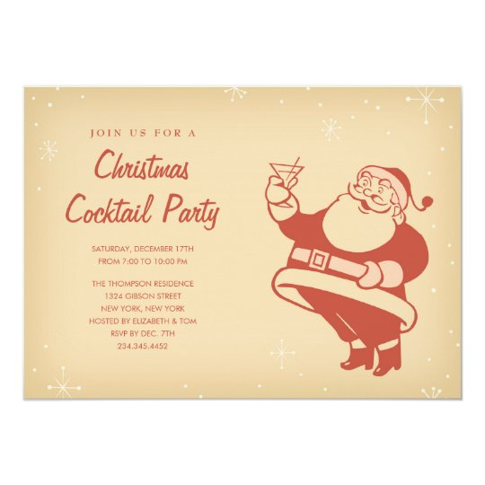 Retro Christmas Party Invitations: Retro Christmas Cocktail Party Invitations