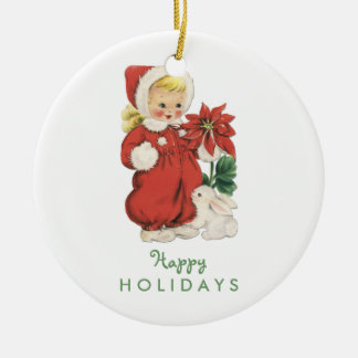 Retro Christmas Cute Girl Red Poinsettia Photo Double-Sided Ceramic Round Christmas Ornament