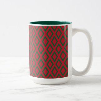 Retro Christmas Diamond Pattern Two-Tone Coffee Mug