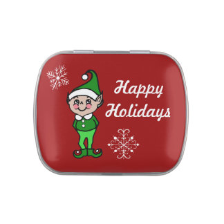 Retro Christmas Elf Candy Tin Gift