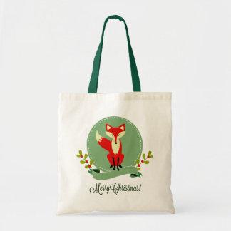 Retro Christmas Fox Pastel Green & Beige 2 Tote Bag