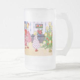 Retro Christmas Frosted Glass Beer Mug