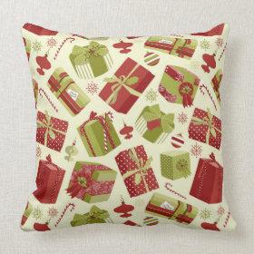 Retro Christmas Gift boxes Throw Pillow