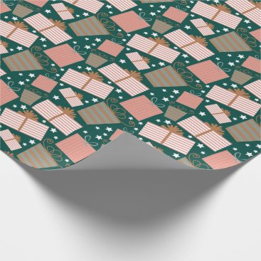 Christmas Themed Retro Christmas Gift Pattern in Peach and Teal Wrapping Paper