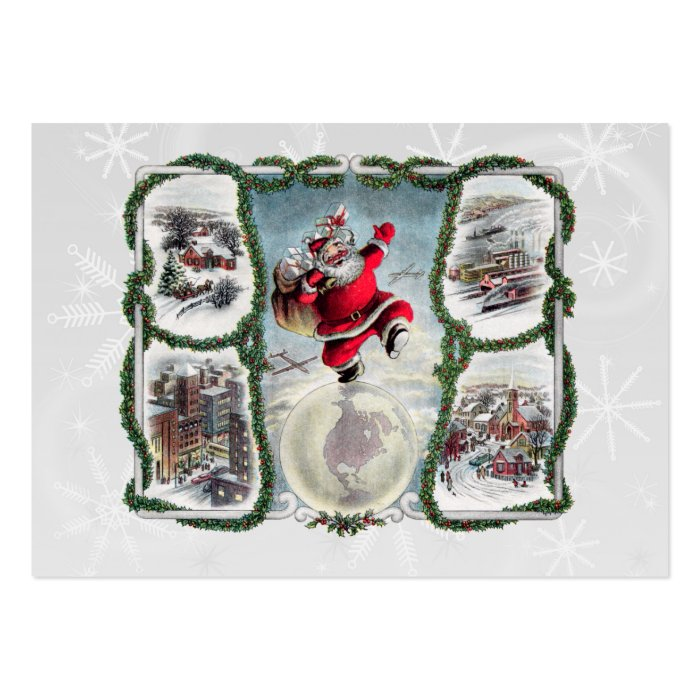 Retro Christmas Gift Tag Large Business Card
