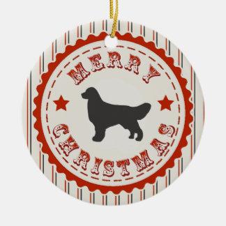 Retro Christmas Golden Retriever Double-Sided Ceramic Round Christmas Ornament