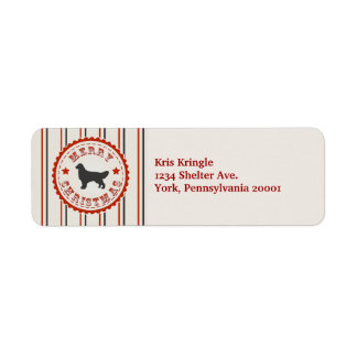 Retro Christmas Golden Retriever Label