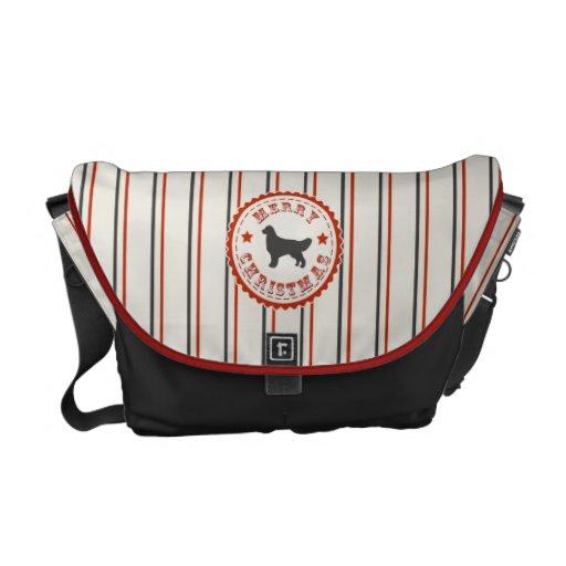 Retro Christmas Golden Retriever Messenger Bag