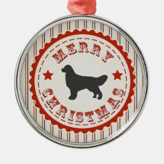 Retro Christmas Golden Retriever Metal Ornament