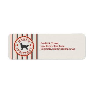 Retro Christmas Golden Retriever Personalized Label