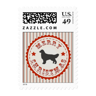 Retro Christmas Golden Retriever Stamp