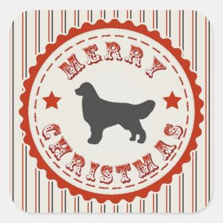 Retro Christmas Golden Retriever Square Sticker