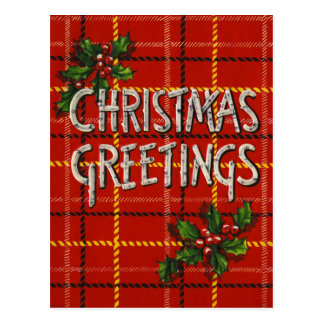 Retro Christmas Greetings Plaid BirchWood Postcard