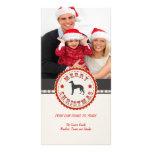 Retro Christmas Greyhound Dog Custom Photo Photo Card Template