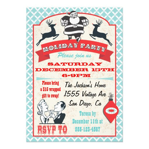 """Retro Christmas Holiday Cocktail Party Invitations 5"""" X 7 ..."""