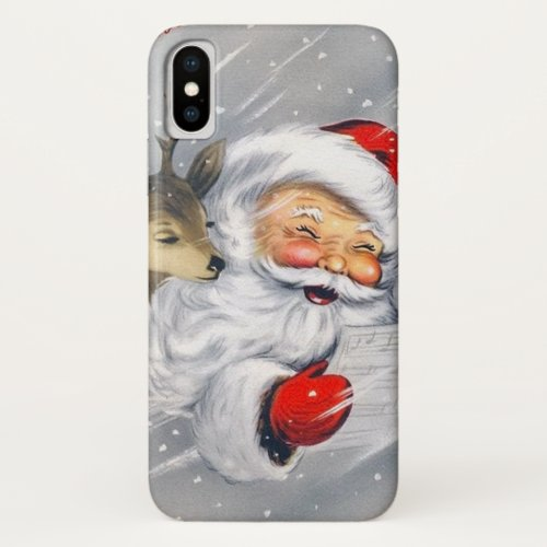 Retro Christmas Holiday Santa reindeer iPhone X Case