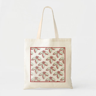 Retro Christmas Holly Holiday Party Favor Gift Canvas Bag