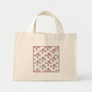 Retro Christmas Holly Holiday Small Tote Bags
