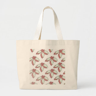 Retro Christmas Holly Red Green Grunge Tote Bags