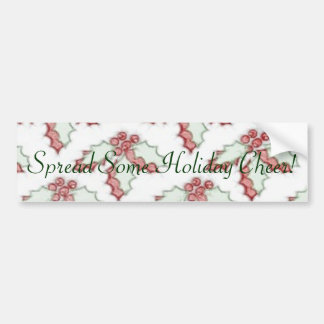 Retro Christmas Holly Red Green Grunge Car Bumper Sticker