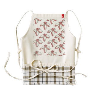 Retro Christmas Holly Zazzle HEART Apron