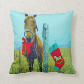 Retro Christmas Horse with Stocking and Red bow Throw Pillow