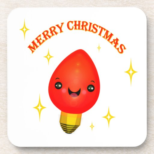 Retro Christmas Light  Greeting Cork Coaster Set