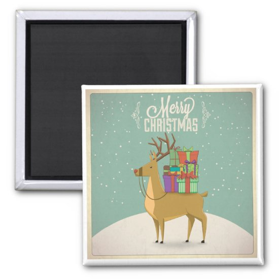 Retro Christmas Magnet - Reindeer with Packages