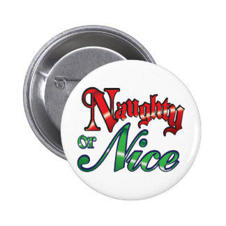 Retro Christmas, Naughty or Nice Red Green Letters Pins