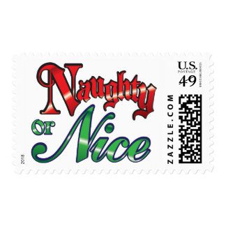 Retro Christmas, Naughty or Nice Red Green Letters Postage