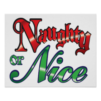 Retro Christmas, Naughty or Nice Red Green Letters Poster