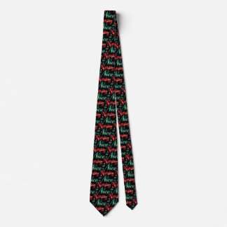 Retro Christmas, Naughty or Nice Red Green Letters Tie